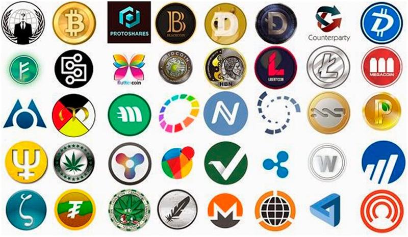 Логотипы популярных криптовалют